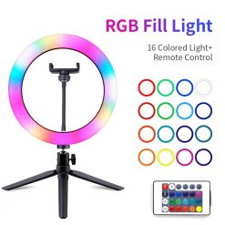 Professional RGB Selfie Ring Light With Tripod Stand 16 Color Photography Lighting Ringlight Video Recording For YouTube Tiktok
