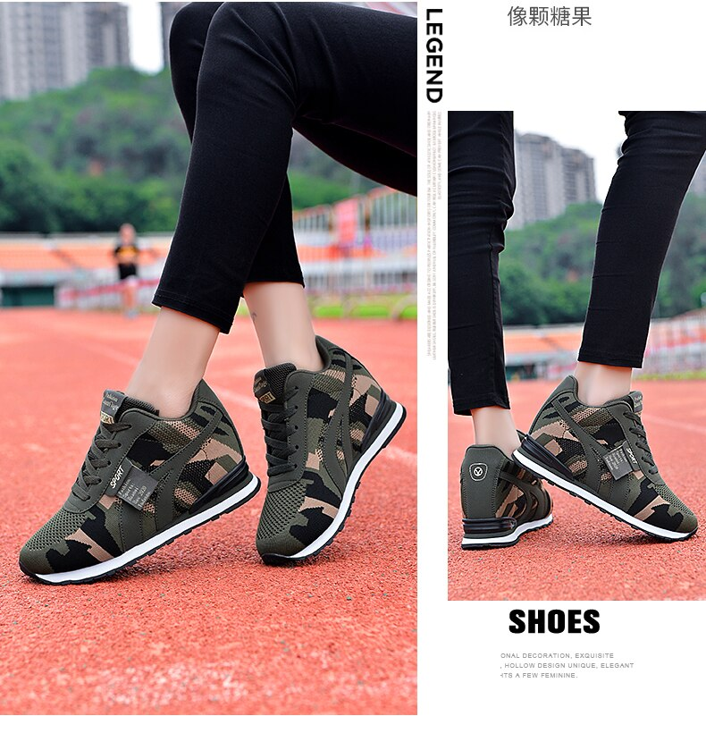 WDHKUN Big Size Height Increase Women Casual Canvas Shoes Camouflage Lace Up High Top Tenis Sneakers New Combat Trainers Shoes