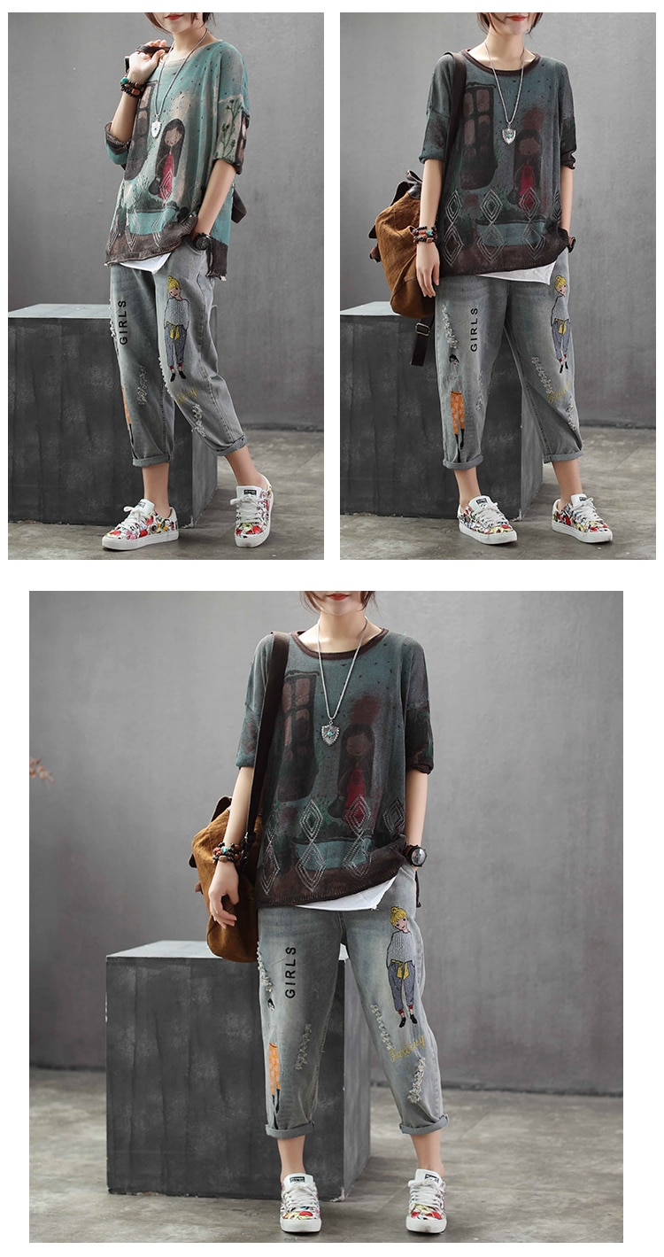 Fashion Brand Korea Style Vintage Hole Girl Embroidery Ankle-length Denim Jeans Female Casual Loose Harem Pant Trousers Cloth