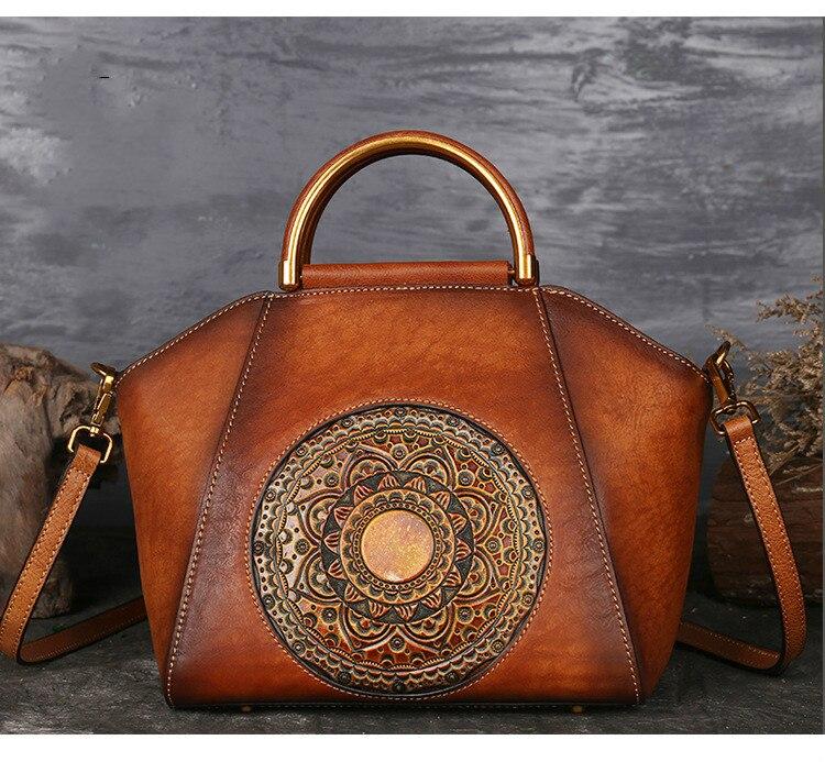 Luxury Women Genuine Leather Handbags Ladies Retro Elegant Shoulder Messenger Bag Cow Leather Handmade Womans Bags