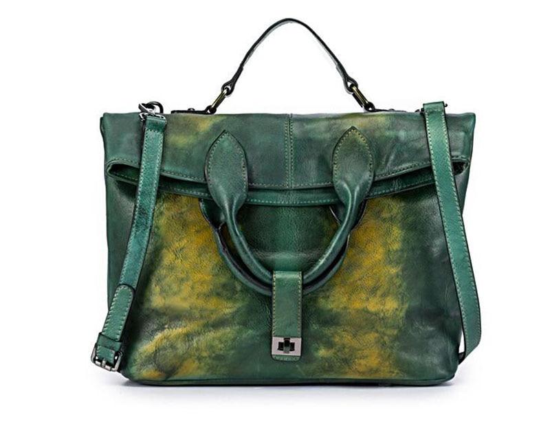 NIUBOA Original 100% Genuine Leather Bag Real Cowhide Women Handbags Vintage Manual Simple Design Crossbody Bags For Women