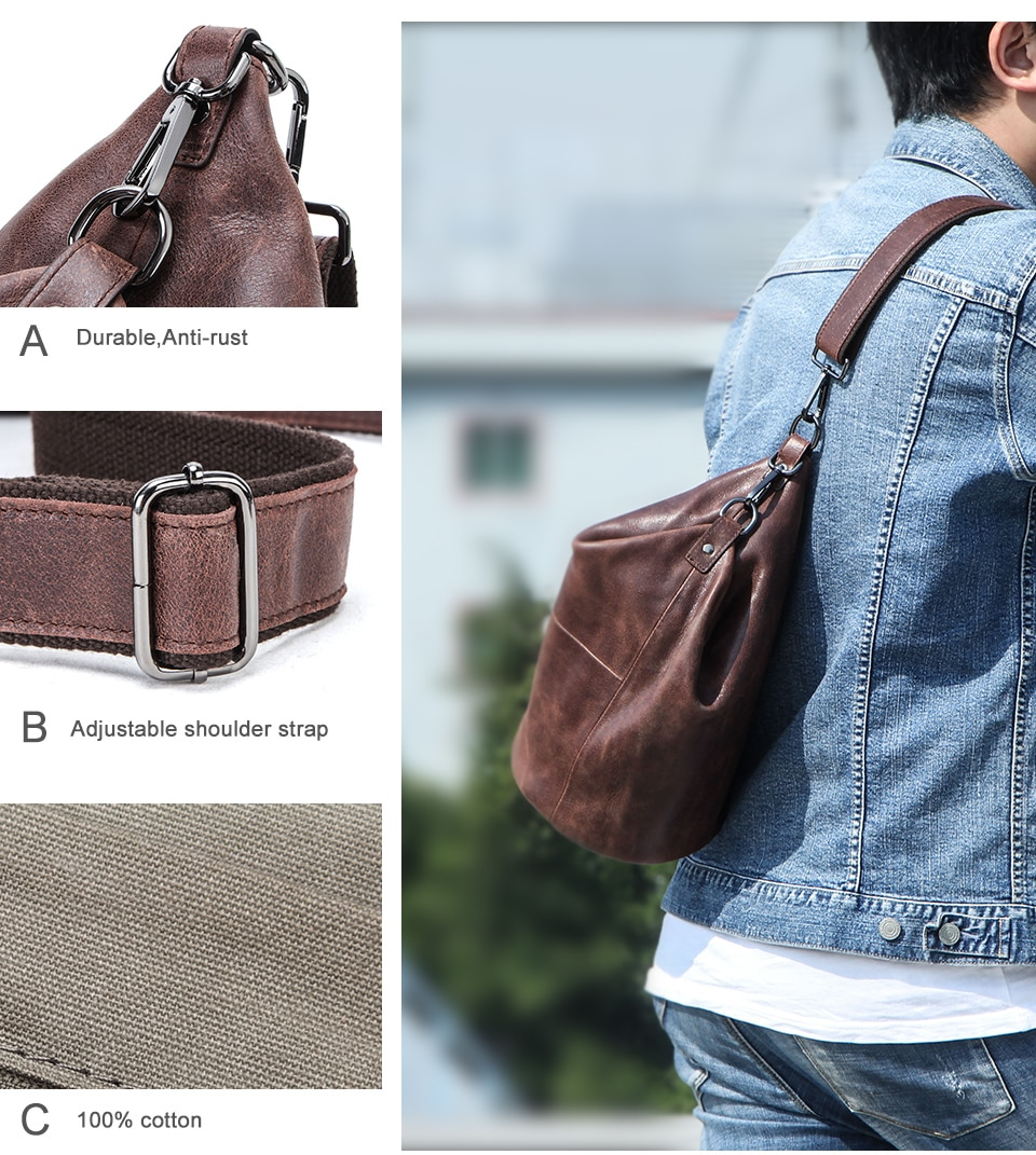 CONTACT'S 100% Genuine Leather Crossbody Bag for Men Large Capacity Shoulder Messenger Bags Male Casual Chest Bag Pack Bolsos