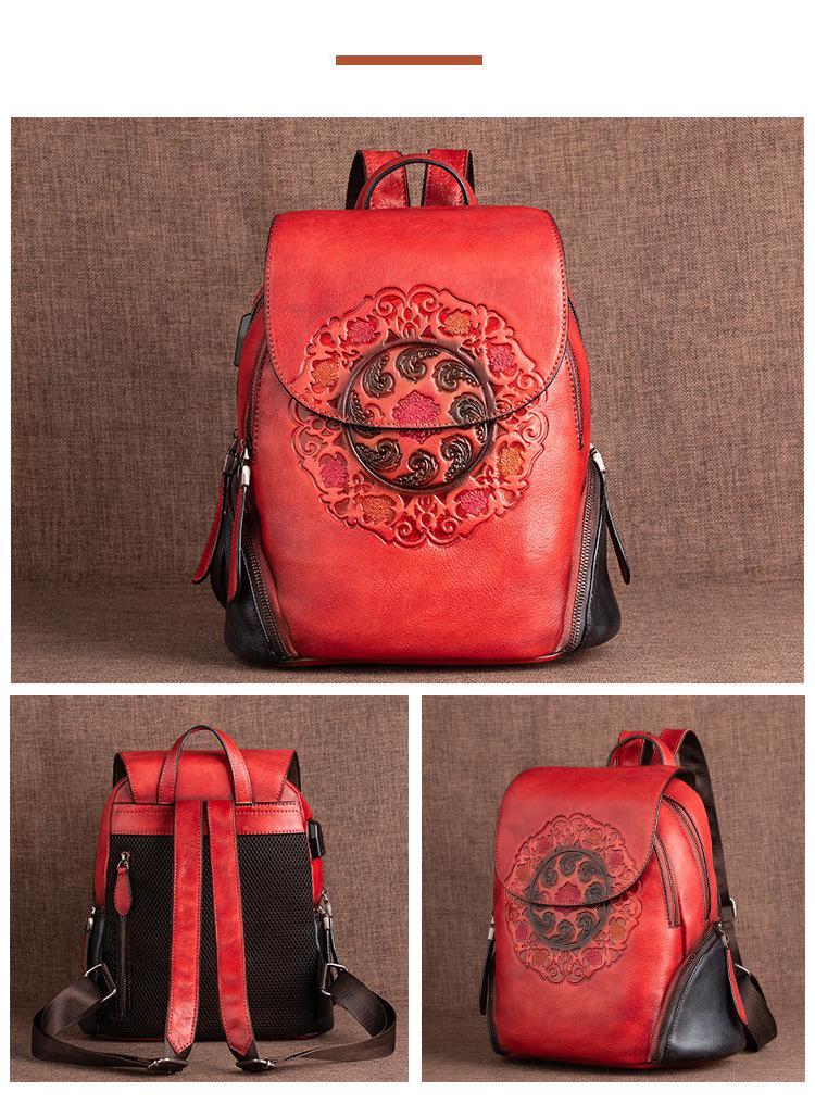 MOTAORA Fashion Backpack Retro Genuine Leather Backpacks For Women New Handmade Embossed Vintage Bag China Style Backpack Ladies