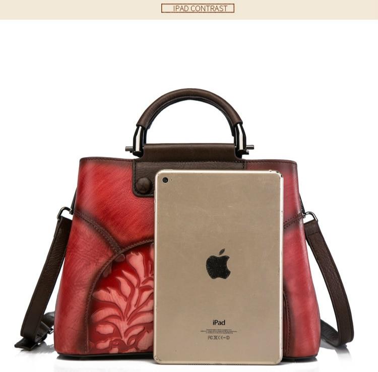 Motaora Women's Bag Handmade Patchwork Handbag For Women Vintage Crossbody Tote Bags Natural Genuine Leather Embossed Bag Female