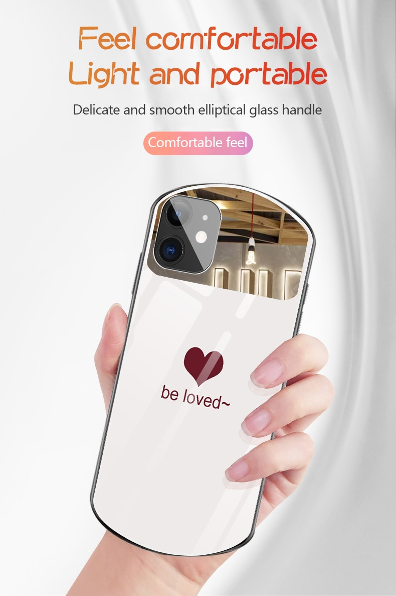 Luxury Cute Oval Heart-shaped Tempered Glass Phone Case For iPhone 12 11 Pro Max XSmax XR X SE 8 7 6 Plus Mirror Lanyard Cover