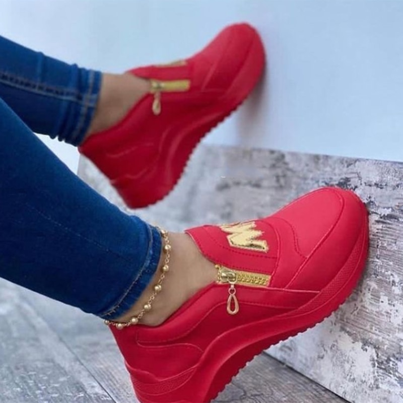 Wedges Sneaker Women 2021 New Thick Bottom Casual Shoes Non Slip Zipper Shallow Women Shoes Solid Platform Women Vulcanize Shoes
