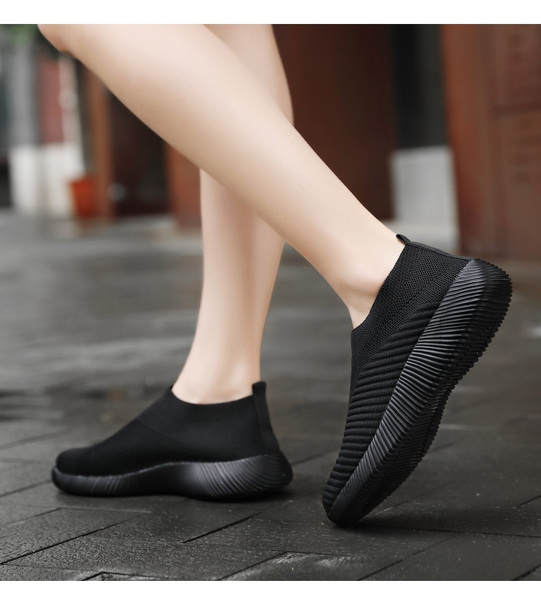 Women Vulcanized Shoes High Quality Women Sneakers Slip On Flats Shoes Women Loafers Plus Size 42 Walking Flat