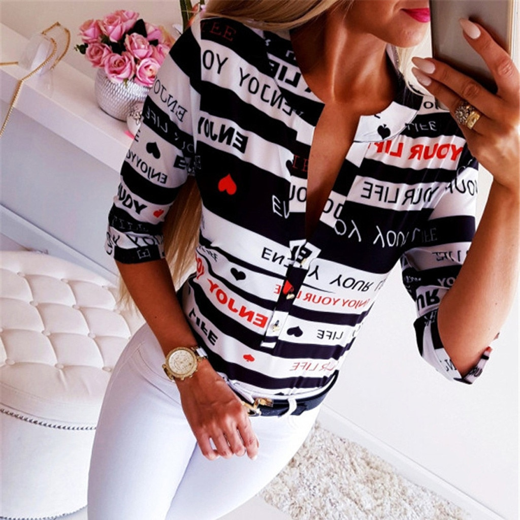 Letter Button Printing Blouses Tops Woman Summer 2020 V Neck Long Sleeve Fashion New Tops Blouse Plus Size Ladies Clothing