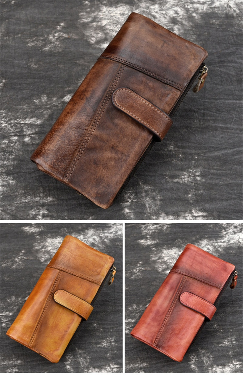 PNDME fashion vintage genuine leather men's wallet casual simple handmade high quality cowhide long hasp credit cards purse