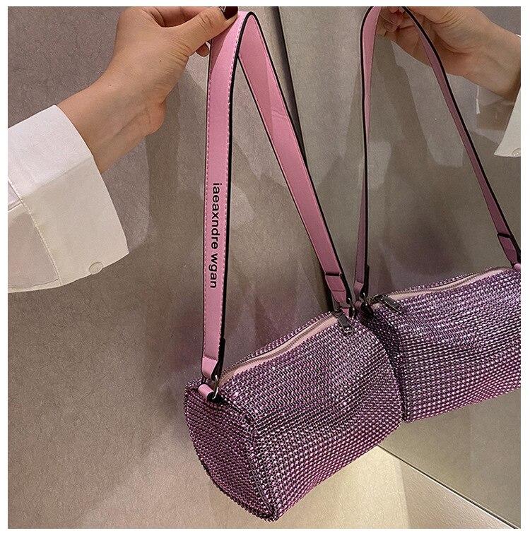 Rhinestone Bag Female Mini Portable Hand Bag Bling Fash Diamond Messenger Bag Fashion Zipper Feminina Evening bag