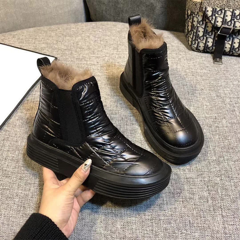 Women Snow Boots Winter Shoes Warm Casual Fur Ankle Female Bowtie Non Slip Plush Suede Rubber Flat Slip On Fashion Ladies